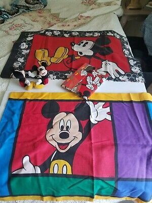 Disney Mickey Mouse Red Black White Pillow Case Curtain Valance  Vintage Lot • 21.71£
