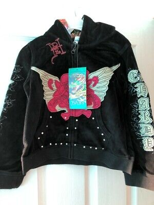 Ed Hardy Girls Black Velour Hoodie Jacket - 4 Years • 38.99£