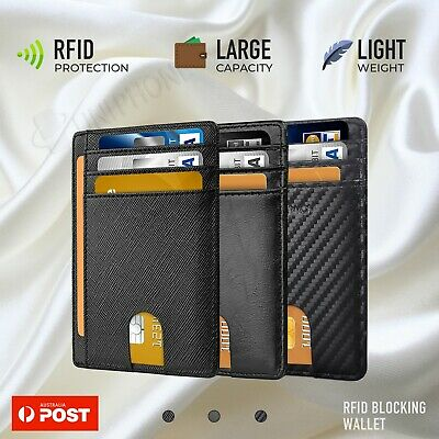 AU12.90 • Buy RFID Blocking Purse Flip Leather Wallet Slim Credit Card Holder Mens Money Clip
