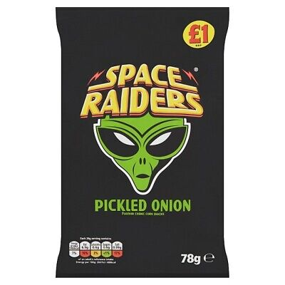 Space Raiders Pickled Onion Flavour Cosmic Corn Snacks 78g X 16 Bags Wholesale • 22.95£