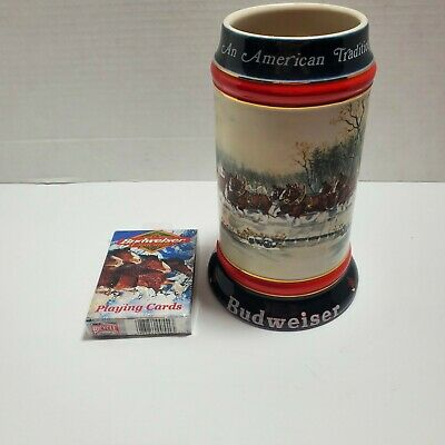 $ CDN18.75 • Buy Budweiser Holiday Stein Mug Ceramarte 1990 And Trading Card Lot New In Packaging