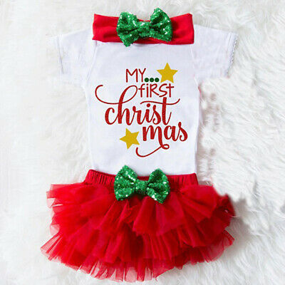 AU14.49 • Buy 3PCS Set Newborn Baby Girl Xmas Romper Tops +Tutu Shorts Skirt Outfits Clothes