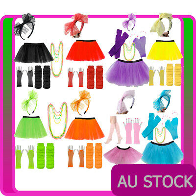 AU28.02 • Buy Ladies 80s Tutu Skirt Fishnet Gloves Leg Warmers Necklace 1980s Dancing Costume