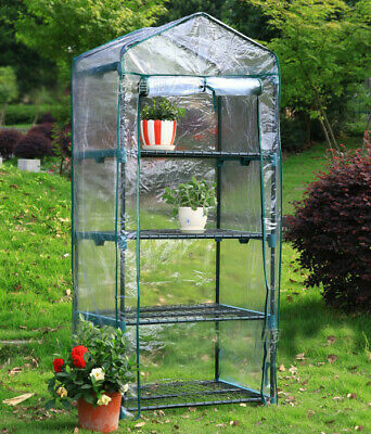 4 Tier Small Greenhouse Bag Garden Plant Cover Clear PVC Plastic Growbag Box UK • 11.98£