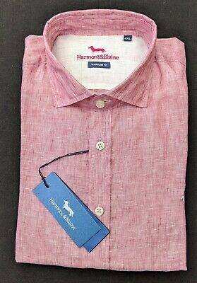 Harmont & Blaine  XL  Chest 46   Pink NARROW FIT Long Sleeve Shirt  RRP £149 • 50£