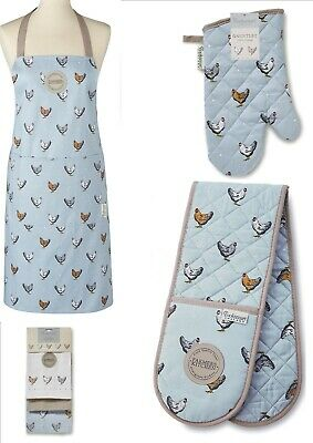 Country Farmers Kitchen Accessory Gift Set Oven Gloves, Matching Apron Tea Towel • 8.99£