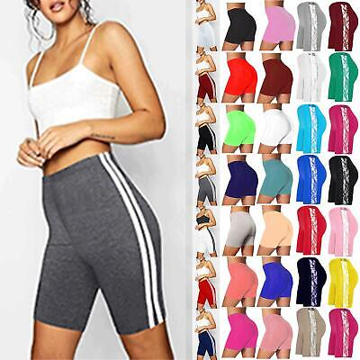 Womens Ladies Cycling Shorts Double Side Stripes Gym Casual Sports Wear Pants • 2.99£