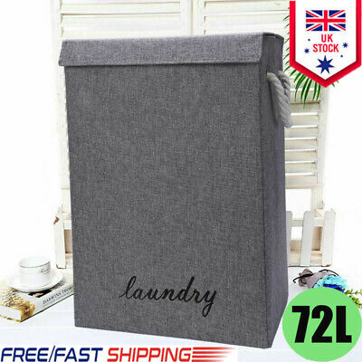 Large Laundry Baskets Washing Clothes Storage Folding Basket Bin Hamper With Lid • 12.99£