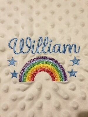 Personalised Rainbow Baby Girl / Boy Blanket Embroidered Newborn Gift  • 14.49£