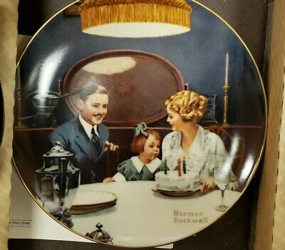 $ CDN18.87 • Buy Norman Rockwell Collector Plate  Birthday Wish  Edwin Knowles Collection