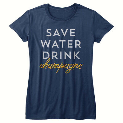 £14.26 • Buy Drunk Society Save Water Drink Champagne Women's T Shirt Fizz Booze Alcohol Top