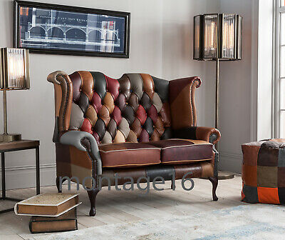 £989 • Buy Brompton Patchwork Leather Wing Chair Armchair High Back Chesterfield Sofa