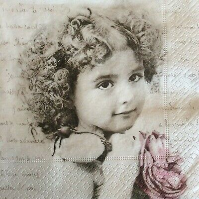 Paper Napkins Decoupage X 2 Vintage French Girl 33cm • 2.45£