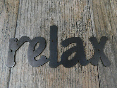RELAX Metal Wall Art Word Quote Metal Sign Decor, Steel RUSTIC Crafts Supplies  • 10.68£
