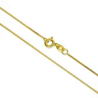 New 9ct Gold 37.5  18  Curb Trace Chain Necklace Diamond Cut 0.78mm Ø & Clasp • 47.99£