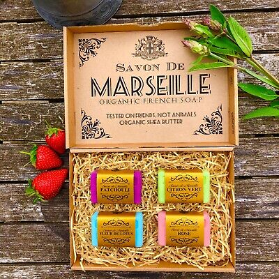 Savon De Marseille French Natural Soap With Organic Shea Butter LUXURY GIFT SET • 10.95£