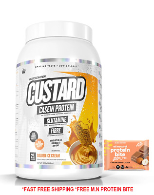 AU64.90 • Buy Muscle Nation Casein Custard 1kg Protein All Flavours Plus Free Gift