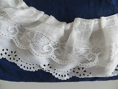 1yd 3-layer Pleated Organza Lace Edge Trim Gathered Mesh Chiffon Ribbon WhiteDIY • 2.99£