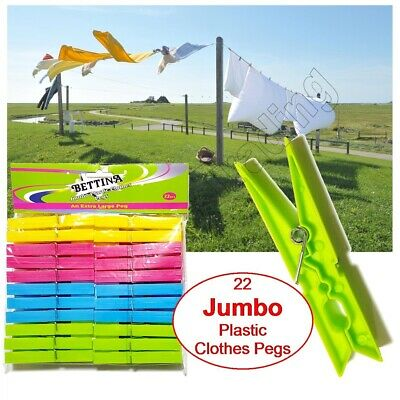 £2.99 • Buy 22 Jumbo Plastic Clothes Pegs Clips Washing Line Airer Rotary Dry Laundry Garden