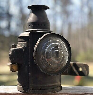Rare Antique ADLAKE RR Train Carriage Car Signal Lantern Lamp Light W Bracket • 198.17£