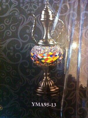 Handcrafted Turkish Mosaic Glass Table Lamp Decorative Moroccan Style Teapot • 94.95£