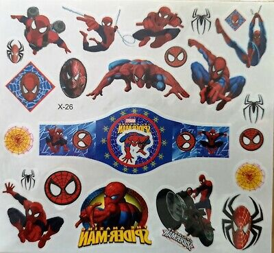 KIDS Temporary Tattoo SPIDER MAN Great PARTY BAG Size Sheet 11.5cm X 12.5cm • 1.99£