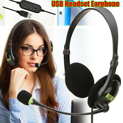USB Headphones With Microphone Noise Cancelling Headset For Skype PC Laptop NEW • 9.25£