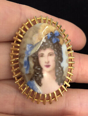 Vintage Jewellery Beautiful Limoges Signed Hand Painted Porcelain Brooch • 28.50£