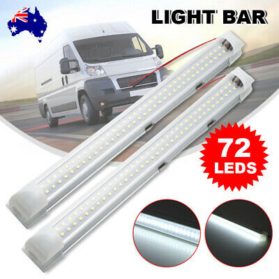 AU21.95 • Buy 2X 72 LED Strip Lights BAR 12V Car Interior Lamp Camping Caravan Boat Cool White