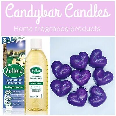 Strong Highly Scented Soy Wax Melts Heart Shaped X 8 - Zoflora Twilight Garden • 2.75£