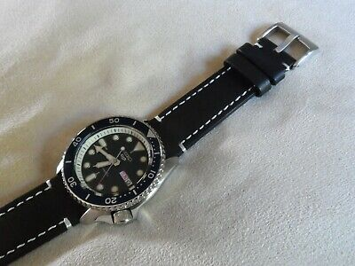 Black Leather Watch Strap Fits Seiko Diver Watches SRPD SNZF SKX 22 Mm Q/R Pins  • 14.95£
