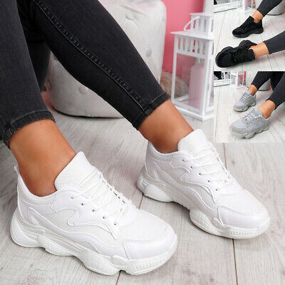$ CDN17.63 • Buy Womens Ladies Lace Up Chunky Sneakers Sport Trainers Women Party Shoes Size