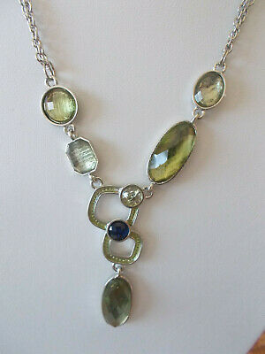 $ CDN23 • Buy Lia Sophia Silver Tone Chain & Pendant Necklace, Translucent Green Stones, NWT
