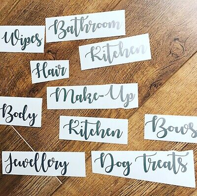 £1.75 • Buy Silver Household Vinyl Stickers, Labels Decals Storage House, Mrs Hinch Organise
