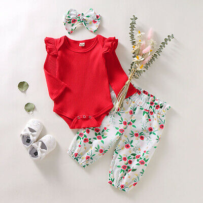 AU15.49 • Buy 3PCS Set Toddler Kid Baby Girl LongSleeve Romper Top+Floral Pants Outfit Clothes