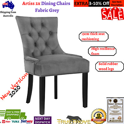 AU229.98 • Buy Artiss 2x Dining Chairs French Provincial Retro Chair Wooden Velvet Fabric Grey