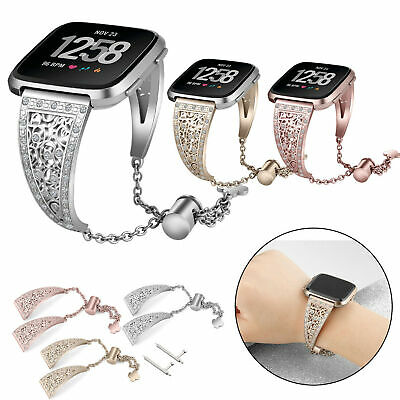 $ CDN14.74 • Buy Crystal Bracelet For Fitbit Versa Band Stainless Steel Metal Wrist Band Strap