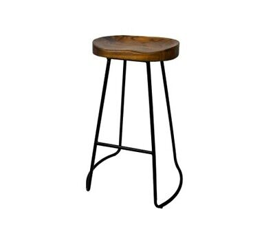 AU168.80 • Buy Set Of 2 Retro Tractor Wooden Design Backless Bar Stools Wood Seat BLACK AU