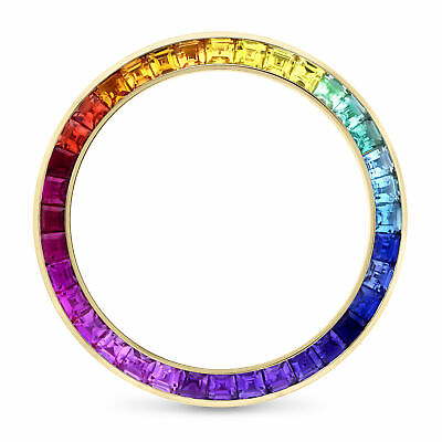 $ CDN1813.74 • Buy Synthetic Colored Stones Rainbow Design Bezel Fits Rolex Daytona 40mm 18ky