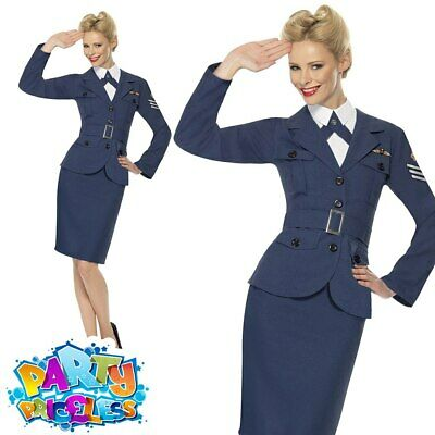 WW2 RAF Air Force Female Captain Costume Womens Wartime Fancy Dress Outfit 8-18 • 20.95£