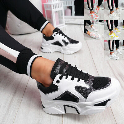 Womens Ladies Chunky Sole Party Sneakers Women Trainers Sport Platform Shoes • 16.99£