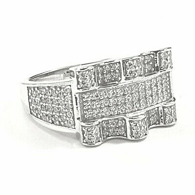 £46.20 • Buy 925 Genuine Sterling Silver White Gold Finish,Icy,Sparkly,Bling, Pinky Men Ring