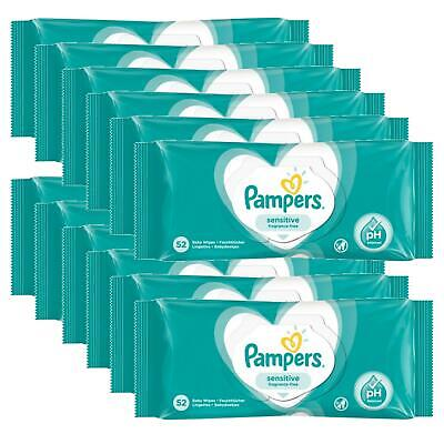 Pampers Baby Wipes Fragrance Free Sensitive 12 X 52s NEW • 21.99£