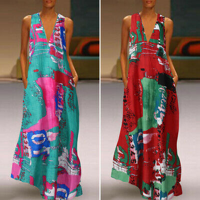 AU13.27 • Buy ZANZEA Women Floor Length Gown Cocktail Party Maxi Sundress Printed Floral Dress