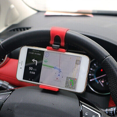 $2.48 • Buy 1× Red Car Interior GPS Phone Mount Stand Holder Steering Wheel Clip Accessories