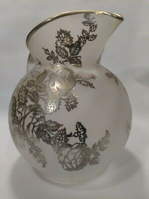 $59.49 • Buy Rare Antique Pitcher Frosted Glass With Silver Overlay Floral Pattern