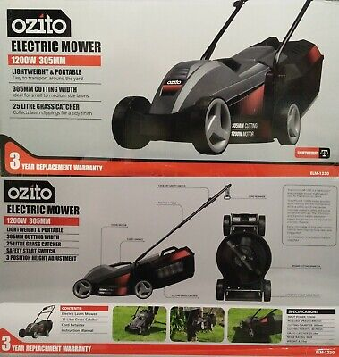 AU199 • Buy Ozito 1200W Ecomow Electric Lawn Mower Lawnmower + Grass Catcher + 3YR Warranty