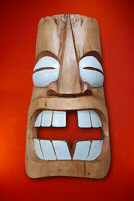 Wood Mask Tiki Hawaii Deco Solid Wall Decoration Luahu Totem Wooden New • 61.24£