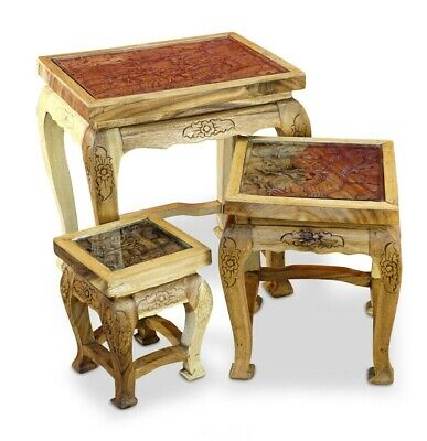 Side Table Set Wood Thai Furniture Dragon Elephant Carved Solid Wood Placemat • 169.28£