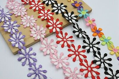 2M 4cm Beautiful Daisy Flower Lace And Ribbon Trim  Colours For Sewing Embellish • 3.65£
